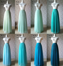 TIERED Long Bridesmaid Tulle Skirt Blue Puffy Maxi Plus Size Tiered Tulle Skirt  image 13