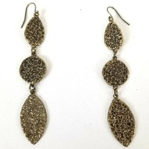 "Chico's Dangle Earrings Hammered Brass Tone Textured Long Metal 3"" Drop ... - $3.44"