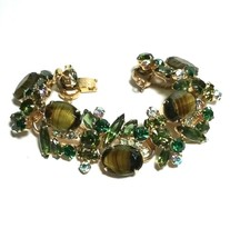LARGE JULIANA RHINESTONE CAT'S EYE GLASS GREEN VINTAGE BRACELET - $250.00