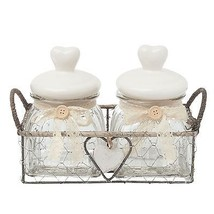 2 X HEARTS CLEAR GLASS JAR WITH METAL WIRE BACKET CREAM SILVER GREY - $23.12
