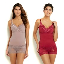 Rhonda Shear Pin-Up Lace Camisole 2-pack, Cocoa/Spring Wine, Small - $23.75