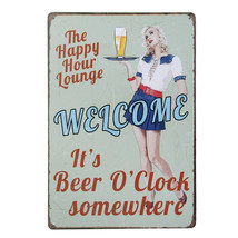 The Happy Hour Lounge - Vintage Metal Tin Sign - $19.95