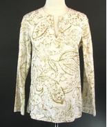 RALPH LAUREN Size S 4 6  Metallic Painted Linen Tunic Top - $15.99