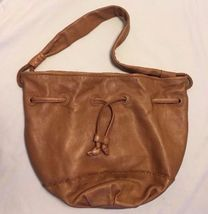 The SAK Indio Leather Drawstring Tote Shoulder Hobo Bobo Bag Brown - $26.90
