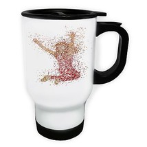 Joy of Life Jumping High White/Steel Travel 14oz Mug x871t - $17.79