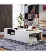 ModHaus Living Modern Wood Tempered Glass Top Accent Coffee Table with B... - $270.34