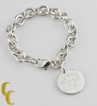 "Tiffany & Co.Argent Sterling "" Return To "" Rond Bracelet à Breloque 19.1cm Ret = - $178.20"