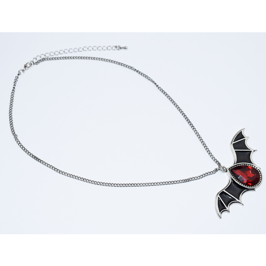 Gothic Halloween Antique Silver Color Necklace Red Crystal Black Wings Bat Penda