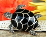 Vintage sea turtle brooch pin black enamel marcasites figural reptile thumb155 crop