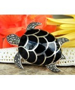 Vintage Sea Turtle Brooch Pin Black Enamel Marcasites Figural Reptile - $26.95