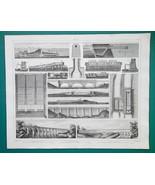 AQUEDUCTS Languedoc Croton in New York Canal du Midi - 1844 Superb Print - $9.00