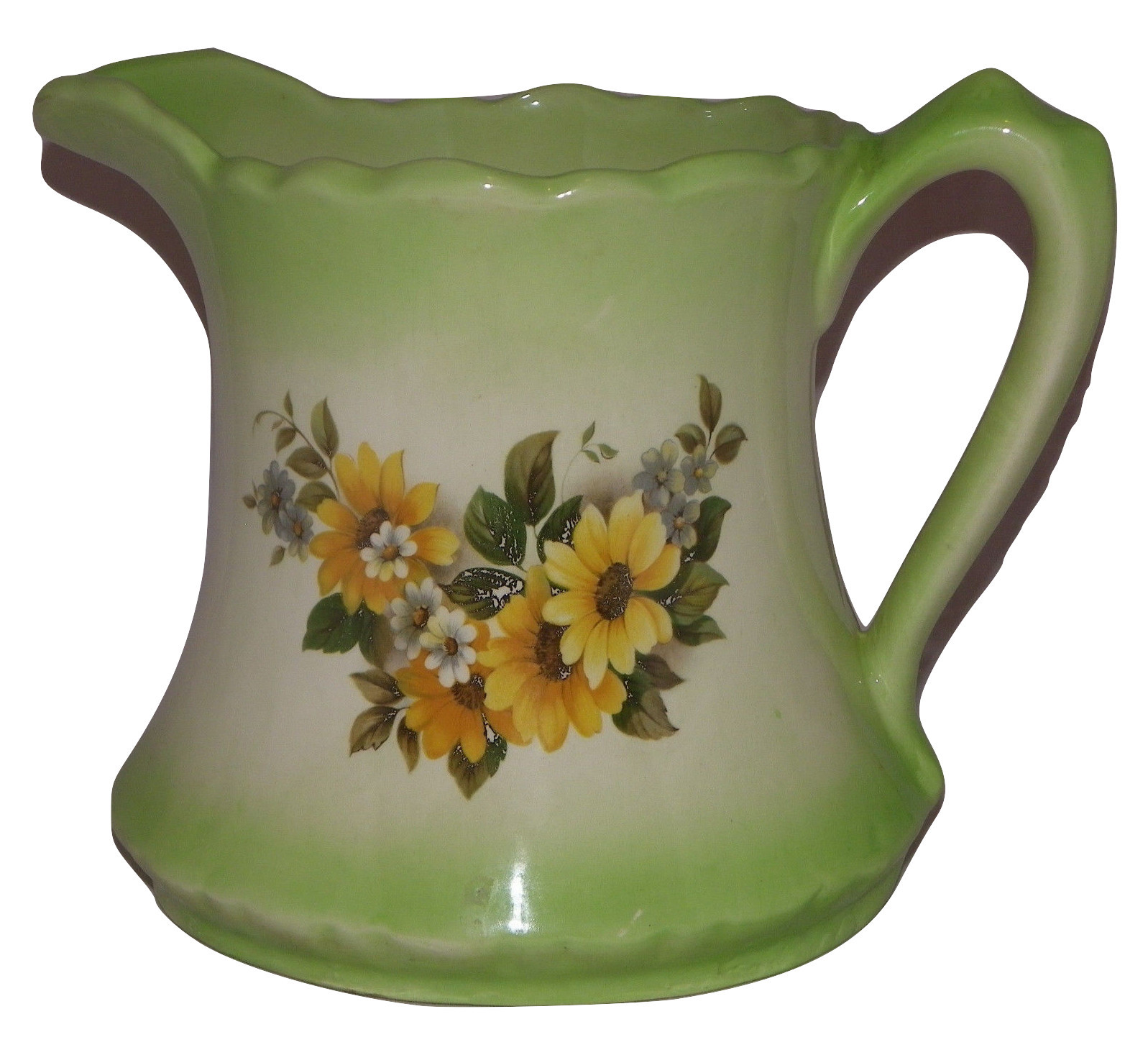 "Sunflower Water Pitcher Green & White Pitcher Scalloped Edge Water Jug 7"" - $34.99"