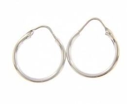 18K WHITE GOLD ROUND CIRCLE EARRINGS DIAMETER 13 MM WIDTH 1.7 MM, MADE IN ITALY image 1