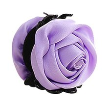 Beautiful Satin Artificial Rose Flower Hair Claw Clips Ponytail Jaw Clips, Lilac