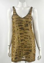 ecote Tunic Top Size Medium Bronze Brown Gold Caged Back Sheer Sleeveles... - $24.75