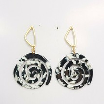 E0270 Black Tone Acrylic Circle Spiral Design Drop Dangle Fashion Post E... - $9.49