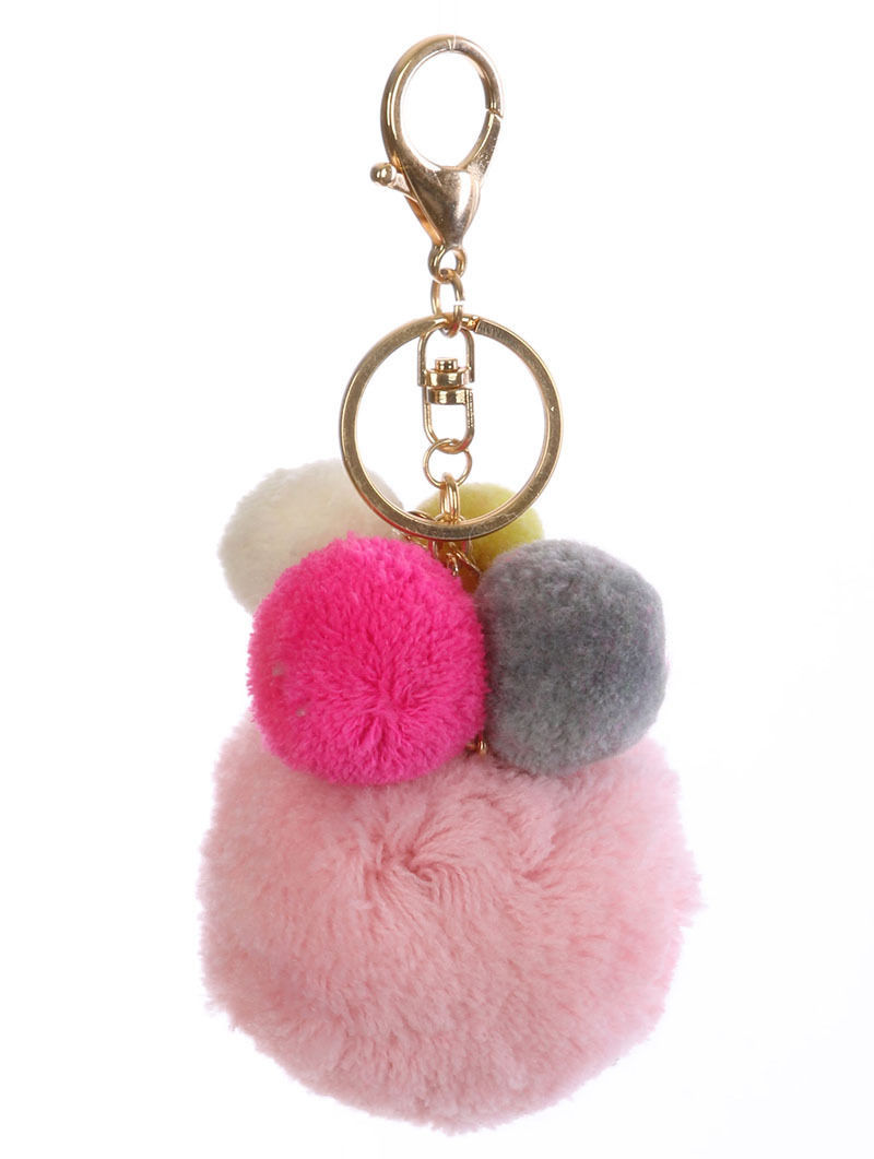 Pom Pom Key Chain Handbag Charm Poms Key Fob Charm Pink Multi Color