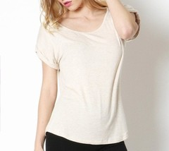 Heather Beige Blouse with Folded Sleeves, Short Sleeve, Womens, Scoop Neck Top