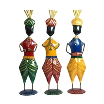 Lovely new colorful set of 3 Punjabi single vardi musician statue - $105.99