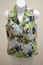 Talbots Petite 4 Top Silk Blend Sleeveless Button Shirt Tropical Geometric Leaf - $19.58