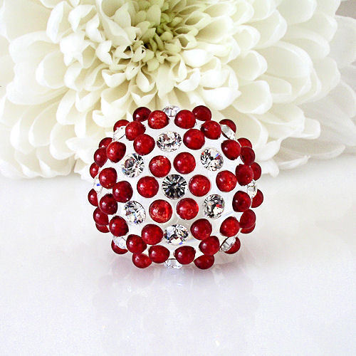 Clear Acrylic Domed Ring Red And Clear Swarovski Elements Crystal On Dome Size 8 image 5
