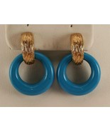 Vintage Signed AVON Goldtone Blue Hoop Plastic Earrings ES292 - $9.90