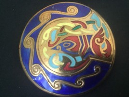 Colorful Red Blue Yellow Enameled Cloisonné Round Brooch Pin - $11.83