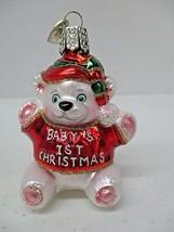 Babys First Christmas Old World Christmas Glass Ornament OWC Teddy Bear ... - $9.74