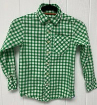 Eddie Bauer kids youth boys shirt plaid green button front size 5 - $11.55