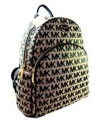Michael Kors MK Logo Signature Backpack Book Bag Abbey Black Beige NWT - $306.89