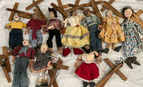 """Lot (10) Antique Handmade Marionette Doll Wood Resin 12.5"""" to 20"""" Man Woman"""