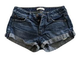 "Size 4 W 27 Abercrombie & Fitch Dark Wash Denim Jean Shorts 9.5"" Rise Bu... - $16.83"