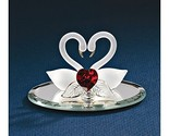 viStar Swan Pair with Red Heart Glass Figurine