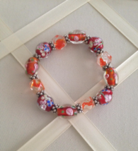 Vintage Orange Clear Italian Murano Glass Floral Beaded Stretch Bracelet - ₨1,947.81 INR
