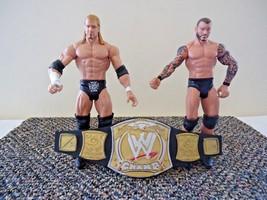 Lot Of 2 WWE Action Figures & Mini Clip On Belt 2010 Triple H & 2011 Randy Orton - $28.04
