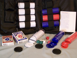 Poker Cards approx 550 Bicycle Chips 6 Dice Texas Hold'Em Rules in Zipper Bag - $10.33