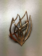 Signed Wolpert Burning Bush Abstract Brooch Pendant Rose Gold Tone Judaica - $44.54
