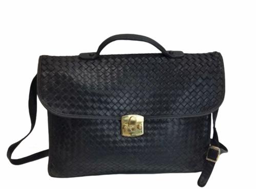 BOTTEGA VENETA Intrecciato Business Bag Briefcase Black Leather Braided