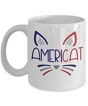 Americat Cat Lover Coffee Tea Mug - Patriotic Ceramic White Gift Novelty... - $14.95+