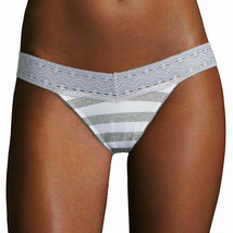 Flirtitude Women's Thong Panties Size X-Large Gray White Rugby Stripe La... - $11.87