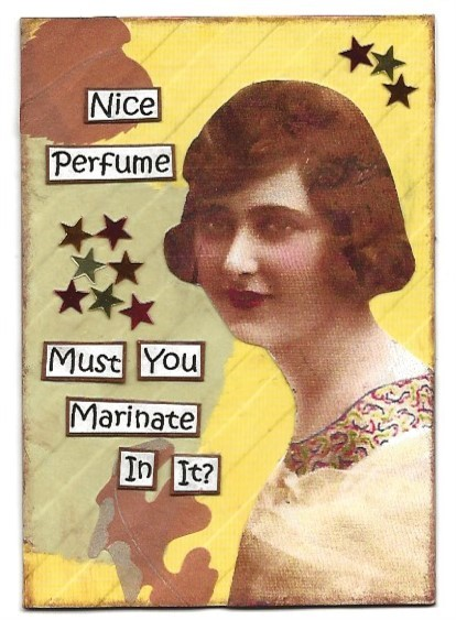 Primary image for ACEO ATC Art Card Collage Original Ladies Women Girls Perfume Stars