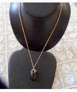 Beautiful gold necklace with large black polished stone, held in a claw ... - $34.99
