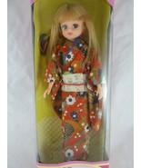 "Takara Licca doll w multi colored Kimono Long Blonde Hair 9"" 1987 Japan - $42.56"