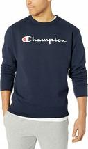 Men's Champion Powerblend Script Navy Crewneck Sweatshirt Adult Large - $34.64