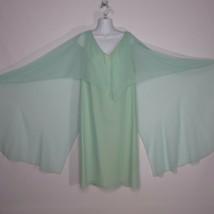 Vintage 70s Halston Turquoise Blue Chiffon Taffeta Dress Sheer Angel Sle... - $197.76