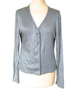 70s Silver Lurex Metallic Soft Viscose Jersey Knit V-Neckline Buttoned C... - $32.00