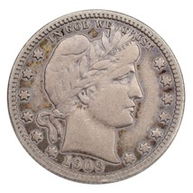 1909-S 25C Barber Quarter Fine+ Condition, Light Gray Color, Strong Liberty - $34.64