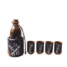 An item in the Pottery & Glass category: Panda Legends Set of 6 Japanese Style Straight Cup Sake Pot Winebowl Set, Black