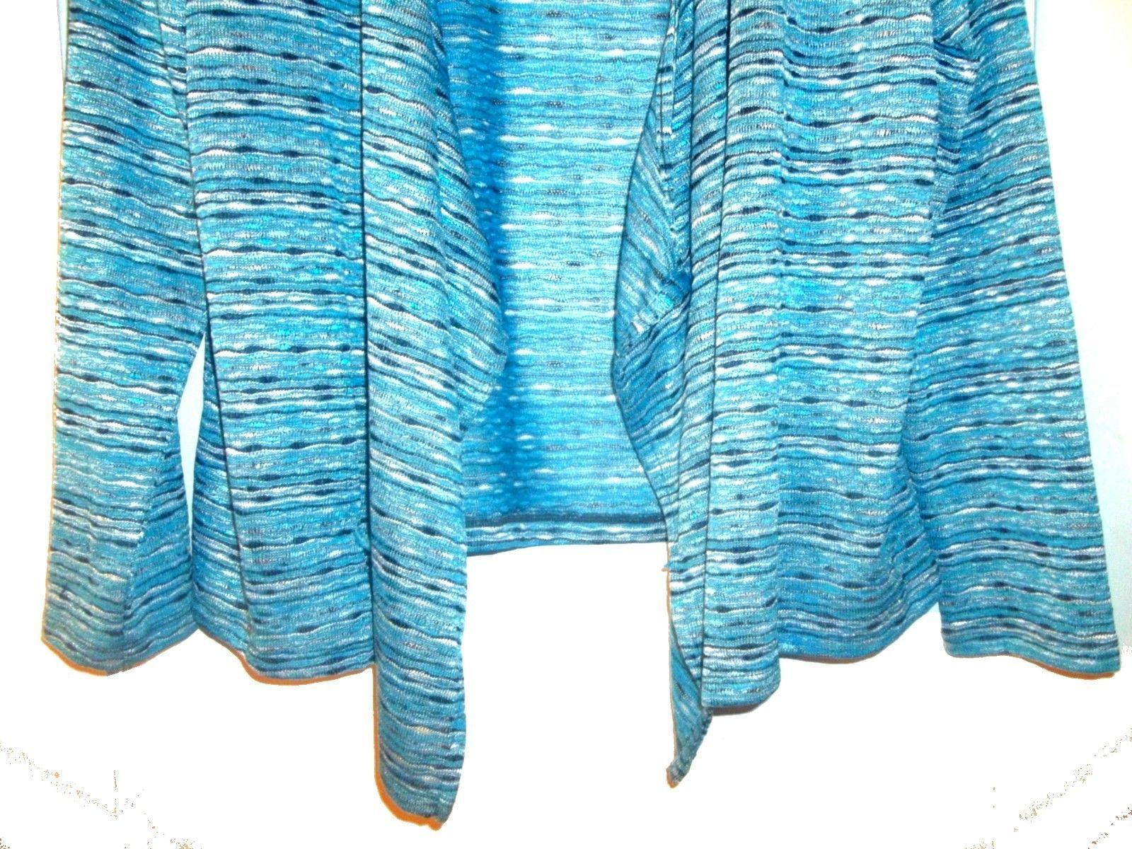 Size XL - Jones NY Blue Striped Lightweight Long Sleeve Open Jacket Sweater image 3