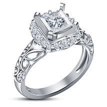 Pure 925 Silver 14k White Gold Plated Princess Cut Diamond Wedding Women... - $72.99